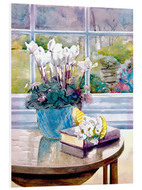 Obraz na PCV  Flowers and book on table - Julia Rowntree