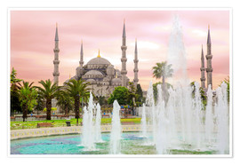 Plakat the blue mosque (magi cami) in Istanbul / Turkey (vintage picture)