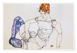 Plakat Seated Woman with violet stockings
