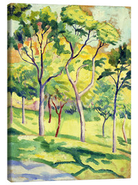 Obraz na płótnie  Trees on a lawn - August Macke