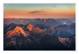 Plakat Alps Panorama from Zugspitze at Sunrise