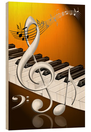 Obraz na drewnie  dancing notes with clef and piano keyboard - Kalle60