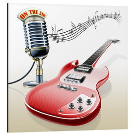 Obraz na aluminium  Electric guitar with microphone and music notes - Kalle60