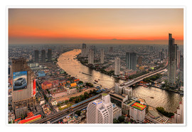 Plakat Bangkok and the Chao Phraya river at dusk