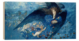 Obraz na drewnie  Night with her train of stars - Edward Robert Hughes