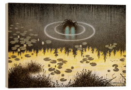 Obraz na drewnie  N?kken, The Monster of the Lake - Theodor Kittelsen