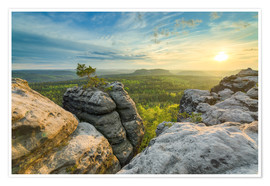 Plakat Sunset on Gohrisch in Saxon Switzerland