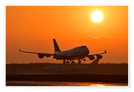 Plakat Landing a Beoing B747-400 in the sunset