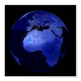Plakat Africa and Europe at night