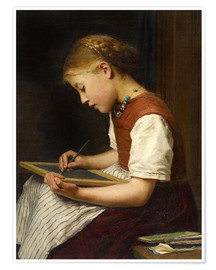 Plakat Schoolgirl with homework