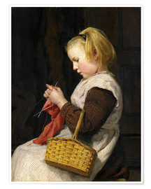 Plakat Knitting Girl with basket