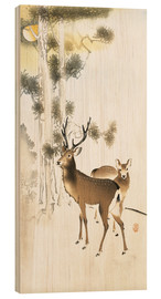 Obraz na drewnie  Deer and roe deer in winter - Ohara Koson