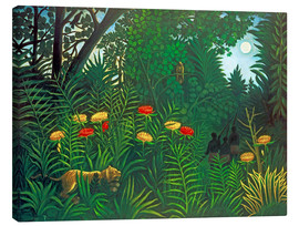 Obraz na płótnie  Exotic landscape with tiger and hunters - Henri Rousseau