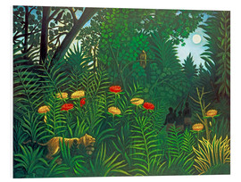 Obraz na PCV  Exotic landscape with tiger and hunters - Henri Rousseau