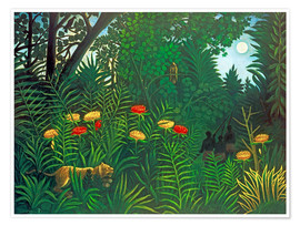 Plakat Exotic landscape with tiger and hunters