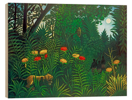 Obraz na drewnie  Exotic landscape with tiger and hunters - Henri Rousseau
