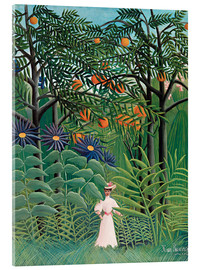 Obraz na szkle akrylowym  Woman in an exotic forest - Henri Rousseau
