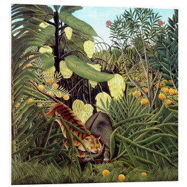 Obraz na PCV  Combat of tiger and buffalo - Henri Rousseau