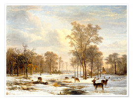 Plakat Winter landscape with stags