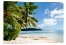 Obraz na szkle akrylowym  Beach with palm trees and turquoise ocean in Tahiti - Jan Christopher Becke