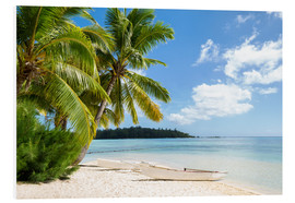 Obraz na PCV  Beach with palm trees and turquoise ocean in Tahiti - Jan Christopher Becke