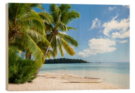 Obraz na drewnie  Beach with palm trees and turquoise ocean in Tahiti - Jan Christopher Becke