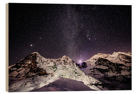 Obraz na drewnie  Eiger, Monch and Jungfrau mountain peaks at night - Peter Wey