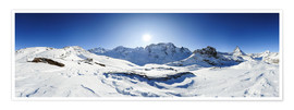 Plakat 360 degree mountain panorama from Riffelberg above Zermatt with Monte Rosa and Matterhorn in Winter