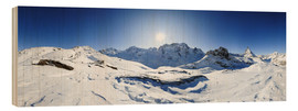 Obraz na drewnie  360 degree mountain panorama from Riffelberg above Zermatt with Monte Rosa and Matterhorn in Winter - Peter Wey