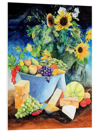 Obraz na PCV  Still life with sunflowers, fruits and cheese - Gerhard Kraus