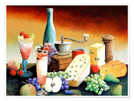 Plakat Stil life with coffee grinder, fruits and cheese