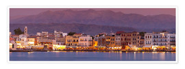 Plakat Harbor at dusk, Chania, Crete