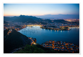 Plakat  View from the Sugarloaf at sunset, Rio de Janeiro, Brazil, South America - Michael Runkel