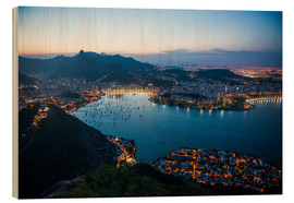 Obraz na drewnie  View from the Sugarloaf at sunset, Rio de Janeiro, Brazil, South America - Michael Runkel