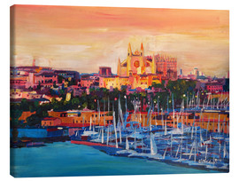 Obraz na płótnie  Spain Balearic Island Palma de Mallorca with Harbour and Cathedral - M. Bleichner