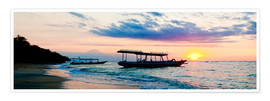 Plakat  Mount Agung on Bali and fishing boats silhouetted against a sunset, Gili Trawangan, Gili Isles, Indo - Matthew Williams-Ellis