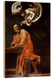 Obraz na drewnie  The inspiration of St Matthew - Michelangelo Merisi (Caravaggio)