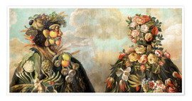 Plakat  A anthropomorphosic profile of a man and a woman - Giuseppe Arcimboldo