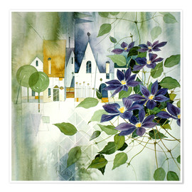 Plakat Rural impression with clematis