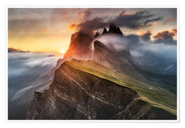 Plakat Sunrise in the Dolomites at Seceda