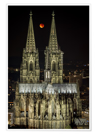 Plakat  Blood moon shines over Cologne Cathedral - rclassen