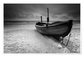 Plakat Fishing boat on the beach monochrome