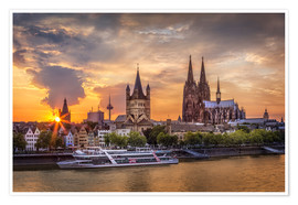 Plakat  Cologne Cathedral and Great St Martin - Jens Korte