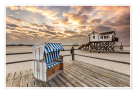 Plakat  In the morning the North Sea beach of Sankt Peter Ording - Dennis Stracke