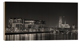 Obraz na drewnie  Cologne night Skyline black / white - rclassen