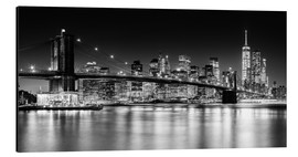 Obraz na aluminium  New York City Skyline with Brooklyn Bridge (monochrome) - Sascha Kilmer