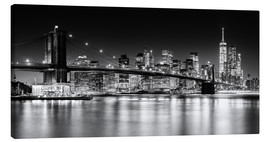Obraz na płótnie  New York City Skyline with Brooklyn Bridge (monochrome) - Sascha Kilmer