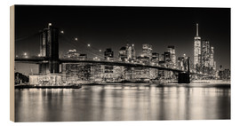 Obraz na drewnie  New York City Skyline with Brooklyn Bridge (monochrome) - Sascha Kilmer
