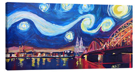 Obraz na płótnie  Starry Night in Cologne - Van Gogh inspirations on Rhine with Cathedral and Hohenzollern Bridge - M. Bleichner