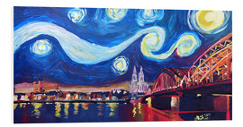 Obraz na PCV  Starry Night in Cologne - Van Gogh inspirations on Rhine with Cathedral and Hohenzollern Bridge - M. Bleichner